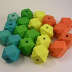 20 Colorful Wood Cube Beads Sampler Pack (WB53)